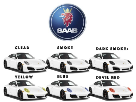 Färigskuren skyddsfilm lyktor alla SAAB modeller
